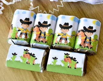 54 Cowboy Hershey Mini Wrappers, Western Cowboy Party, Cowboy Supplies Label Hershey®, Western Cowboy Party, Western Party Favors