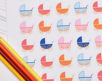 30 Baby Stroller Stickers, Baby Carriage Stickers