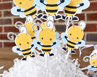 16 Bee Cake Toppers, Bee Cupcake, Bee Cake Decor, Bee Baby Shower, Bee Birthday Decoration, Bee Supplies Party, Bee Decoration