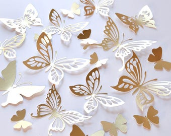 20 Gold Butterfly Wall Decor, Gold Butterfly Decoration, Gold Paper  Butterflies, Gold Butterfly