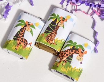 54 Giraffe Labels for Hershey Miniatures, Giraffe Stickers, Giraffe Party Favor, Giraffe 1st Birthday Party Favors, Giraffe Candy Wrappers