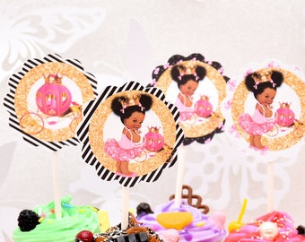 African American Pink Princess Cupcake Toppers Royal Princess Etsy