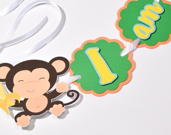 Monkey Highchair Banner, Monkey Party Decorations, Monkey Birthday Party, Custom Party Banners, Monkey Party Supplies