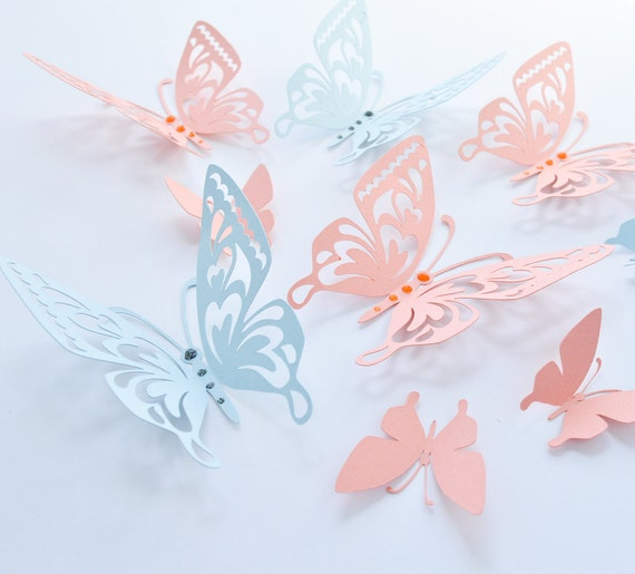 Lachs blaue Schmetterlinge Papier Schmetterlinge Wand | Etsy