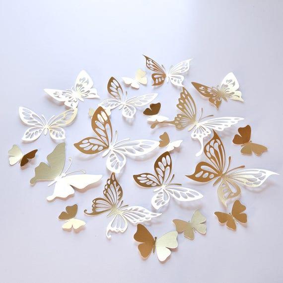 20 gold Schmetterling Wand Dekor Gold-Schmetterling | Etsy