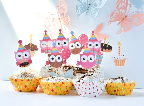 12 Owl Birthday Party Supplies Cake Decoration