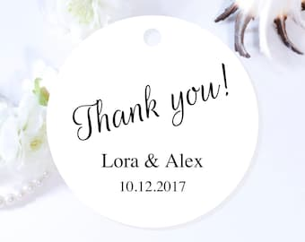 Custom Wedding Tags, Round Thank You Tags, Personalized Wedding Tags, Wedding Favor Tags