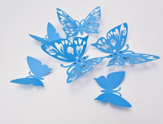 Blue Butterfly Wall Art 3D Butterfly Wall Decor Paper | Etsy