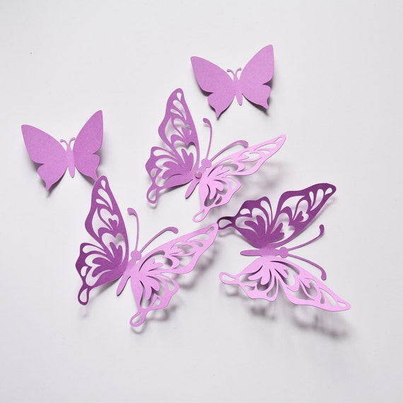 Purple Butterfly Wall Decor Birthday Paper Butterflies 3D | Etsy