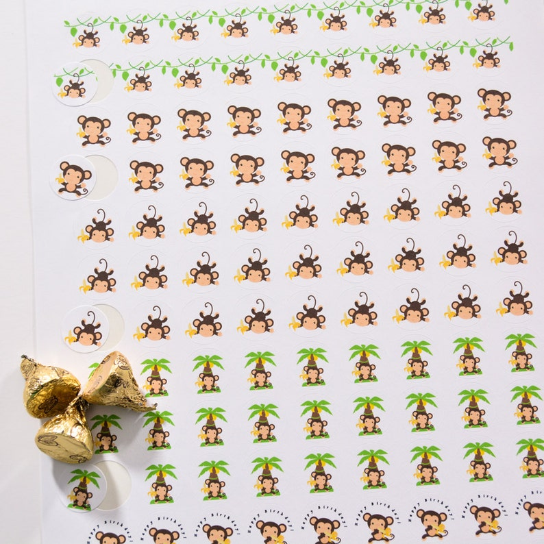 Monkey Safari Party 324 Monkey Candy Stickers Candy Stickers for Hershey\u00ae Kisses Safari Decorations Jungle Monkey Stickers