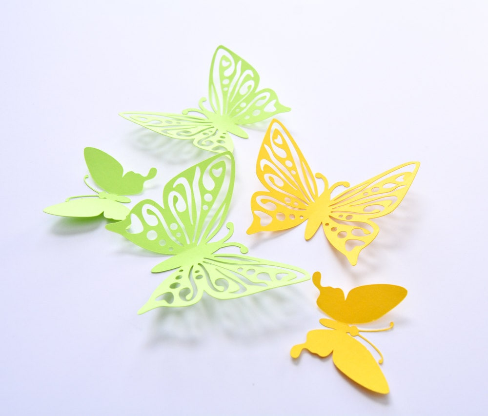 3D Wall Sticker Butterfly Green Yellow Butterfly Art Wall | Etsy