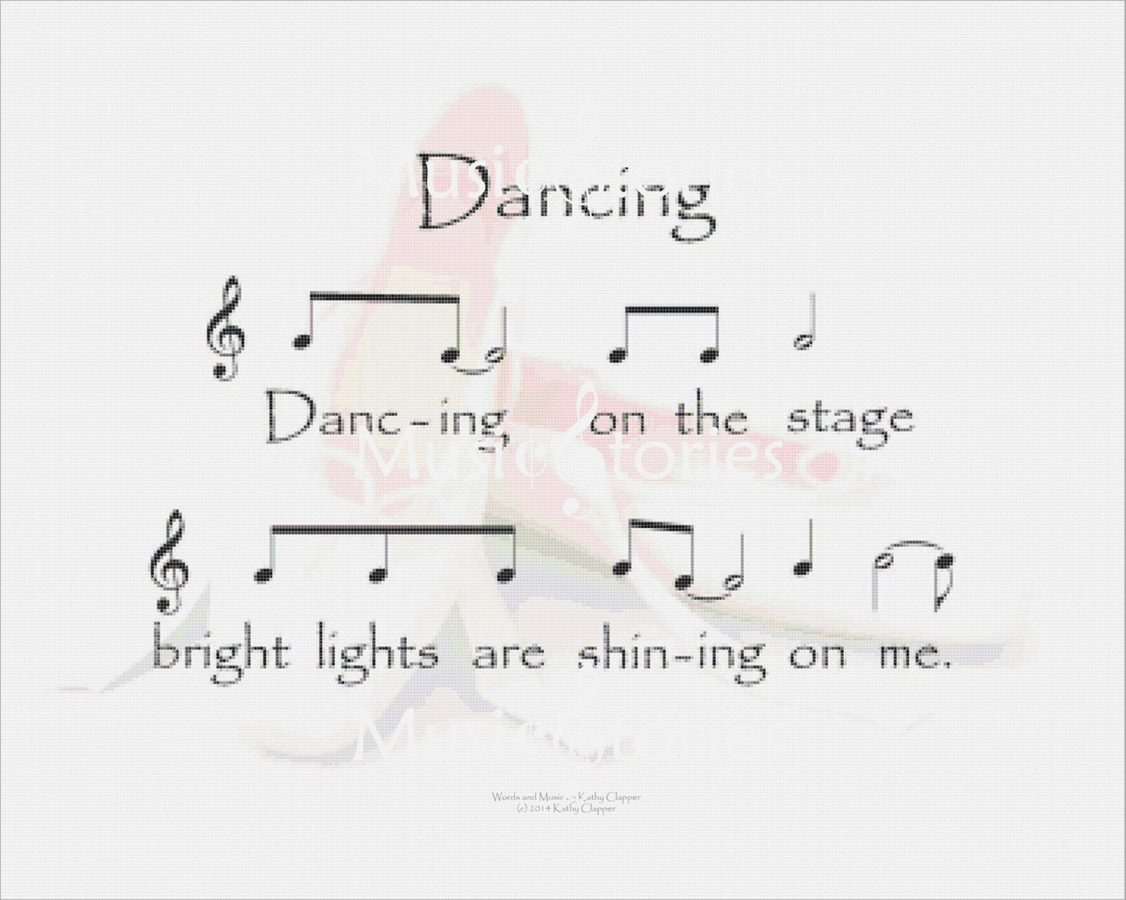 dancing: 8 x 10 inch printable wall art of lyrics and music from the song overlaid on ballet shoes; ballet music; dance song