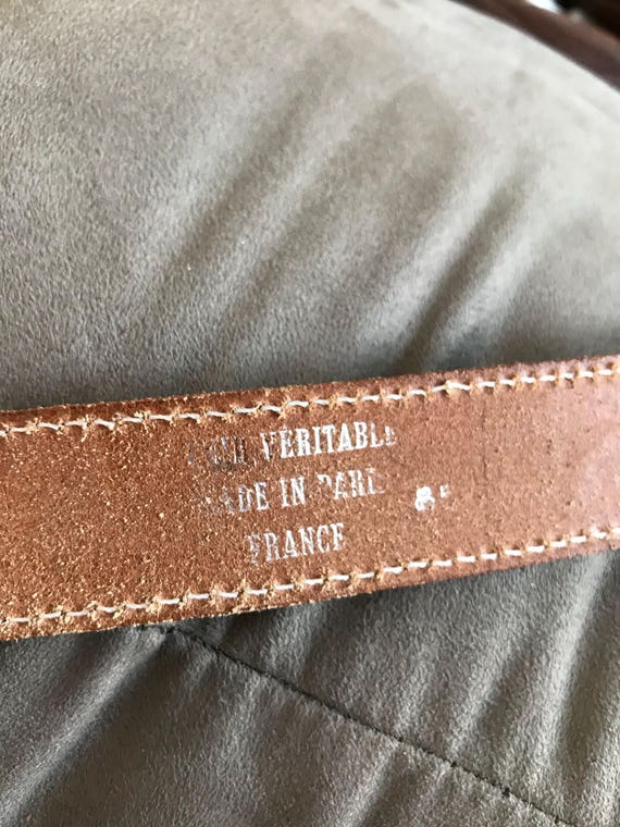 Vintage Leather Belt, Jeans C17, Tan Leather Belt… - image 10