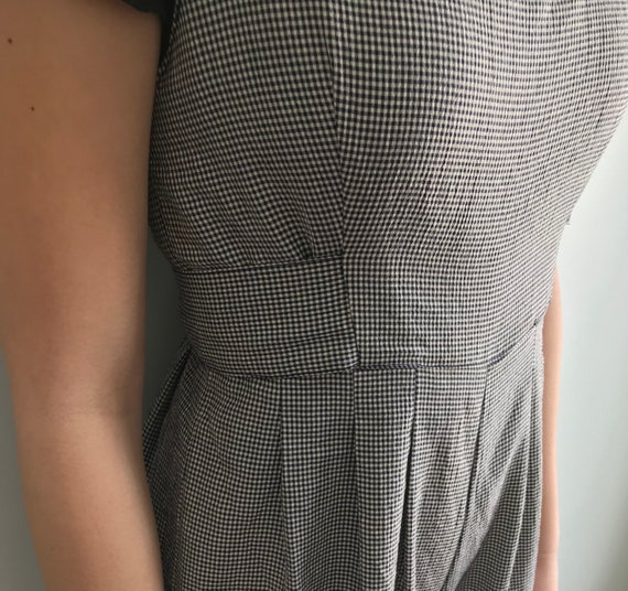 Vintage Cropped Romper, Black and White Checkered… - image 7