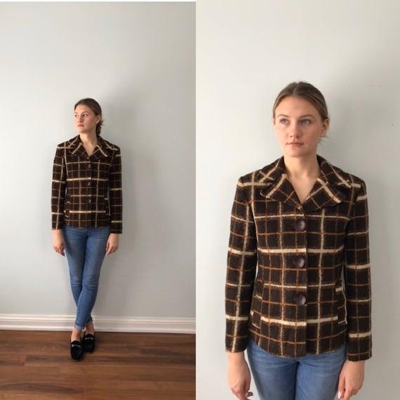 Vintage Sandro Paris Plaid Jacket, Brown Plaid Jac