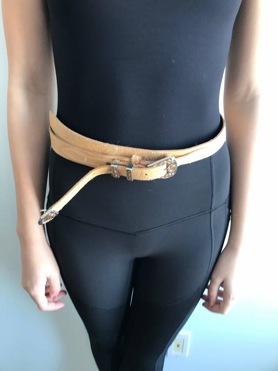 Vintage Leather Belt, Jeans C17, Tan Leather Belt… - image 4