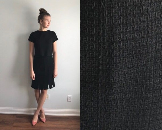 Black Wool Blend Textured Skirt, Black Skirt, Vint