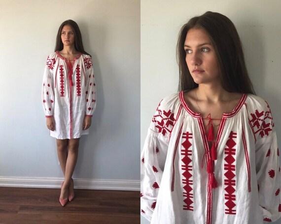 White Linen Short Dress, White Linen Red Cross Sti