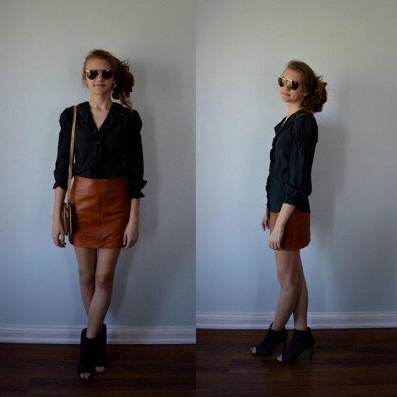 Vintage Leather Mini Skirt, Mini Skirt, Leather Mi