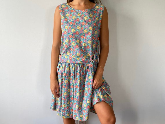 1990s Laura Ashley Floral Cotton Sleeveless Dress