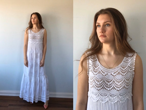 Vintage Alberta Ferretti White Cotton Maxi Dress,