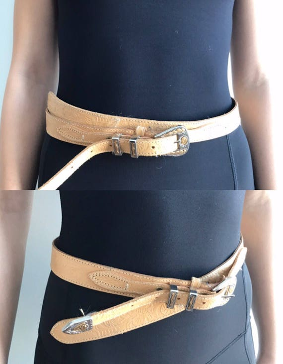 Vintage Leather Belt, Jeans C17, Tan Leather Belt… - image 1