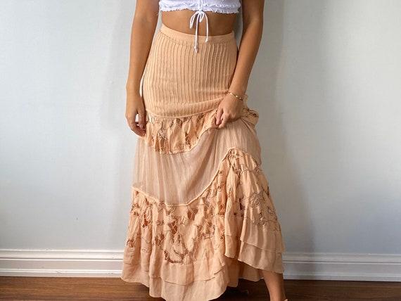 Vintage Blush Skirt, Vintage Lace Skirt, Peachy Bl
