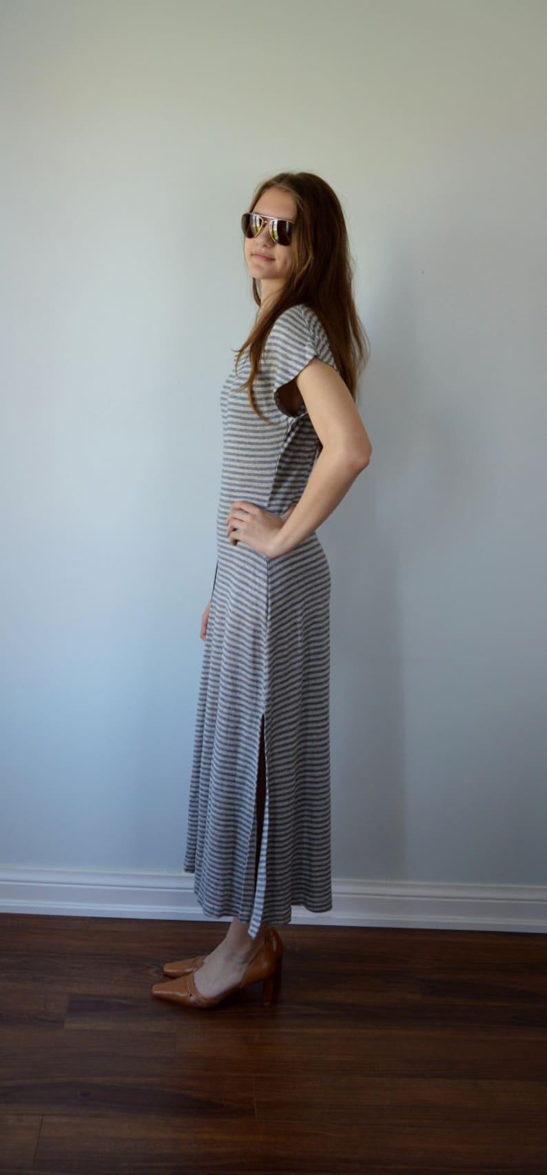 Summer Dress Denim Blue and Grey Horizontal Stiped Knit Dress The Limited Casual Dress Street Wear 1990s Dress Maxi Dress