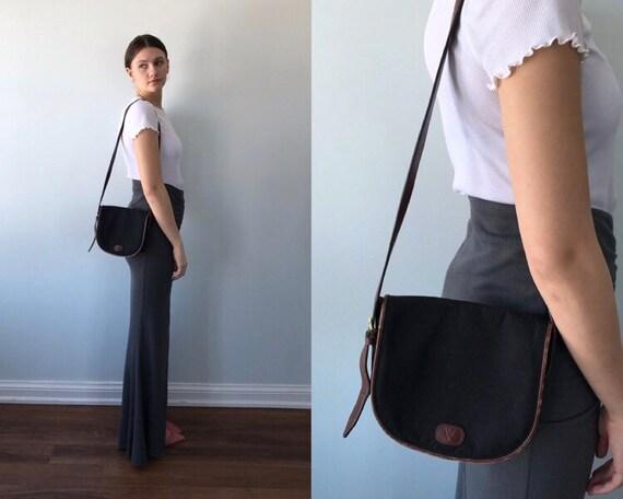 Vintage Valentino Garavani Canvas Shoulder Handbag