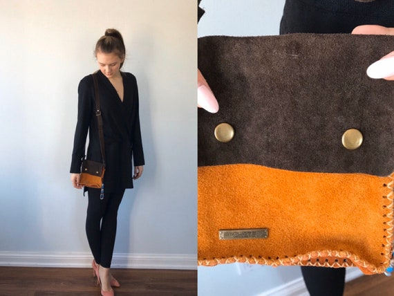 Vintage Two Tone Brown Suede Shoulder Handbag, DSq