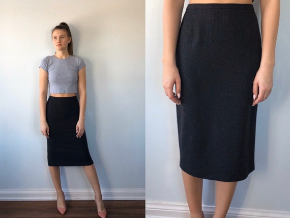 Vintage Grey Pencil Skirt, Dolce & Gabbana, 1990s