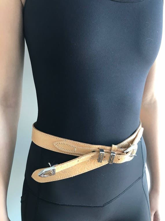 Vintage Leather Belt, Jeans C17, Tan Leather Belt… - image 5