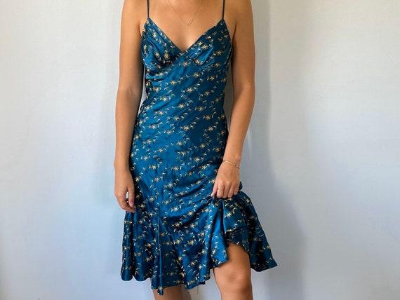 Vintage Betsey Johnson Dress, Teal Silk Dress, Bet