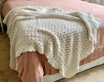 Vintage Cream Crochet Blanket Throw – Off White Throw, Shabby Chic Blanket, Handmade Blanket