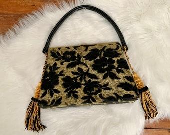 Vintage Black Gold Brocade Purse with Tassels – Evening Bag, Shoulder Bag, Unique Handbag