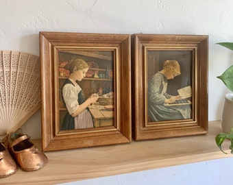 Vintage Framed Peasant Girls Art – Eclectic Wall Art, Gallery Wall, Rustic Art, Victorian Painting