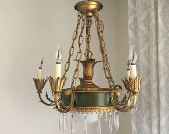 French chandelier etsy vintage gold swag chandelier art nouveau glam crystal chandlier mid century aloadofball Images