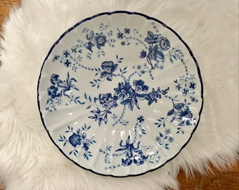 Vintage Blue White Floral Bowl – Large Blue and White Ceramic Bowl, Tableware, Vintage Decorative Bowl