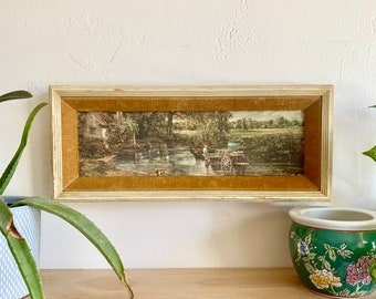 Vintage Framed Painting on Fabric – Eclectic Wall Art, Gallery Wall, Boho Framed Art, Rustic Art