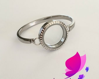 Stainless Steel Locket Bangle, Locket bracelet, Add your own charms