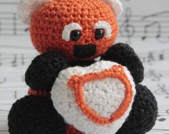 PATTERN- Red Panda with Heart- Crochet Amigurumi Pattern- PDF- English