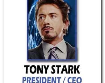 tony stark ceo at stark industries iron man safety magnet fastener name badge halloween costume prop
