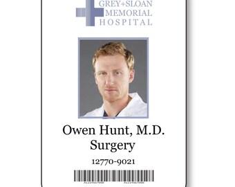 OWEN HUNT Doctor On Greys Anatomy T V Show Magnetic Fastener Name Badge Halloween Costume Prop