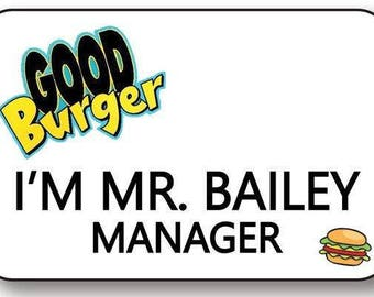 bailey manager good burger magnetic fastener name badge halloween costume prop