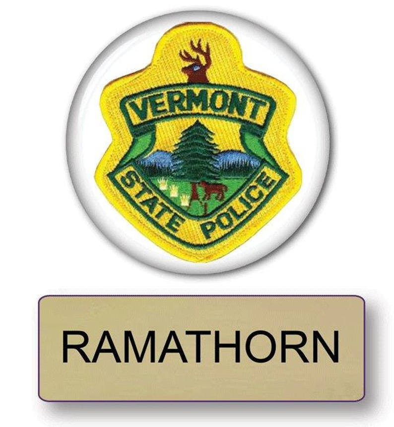 Officer RAMATHRON From Super Troopers Vermont State Police Magnetic  Fastener Name Badge U0026 Button Halloween Costume Prop