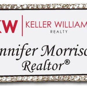 COLDWELL Banker Realtors BLING CRYSTAL Edges Name Badge Tag with a Magnet Fastener
