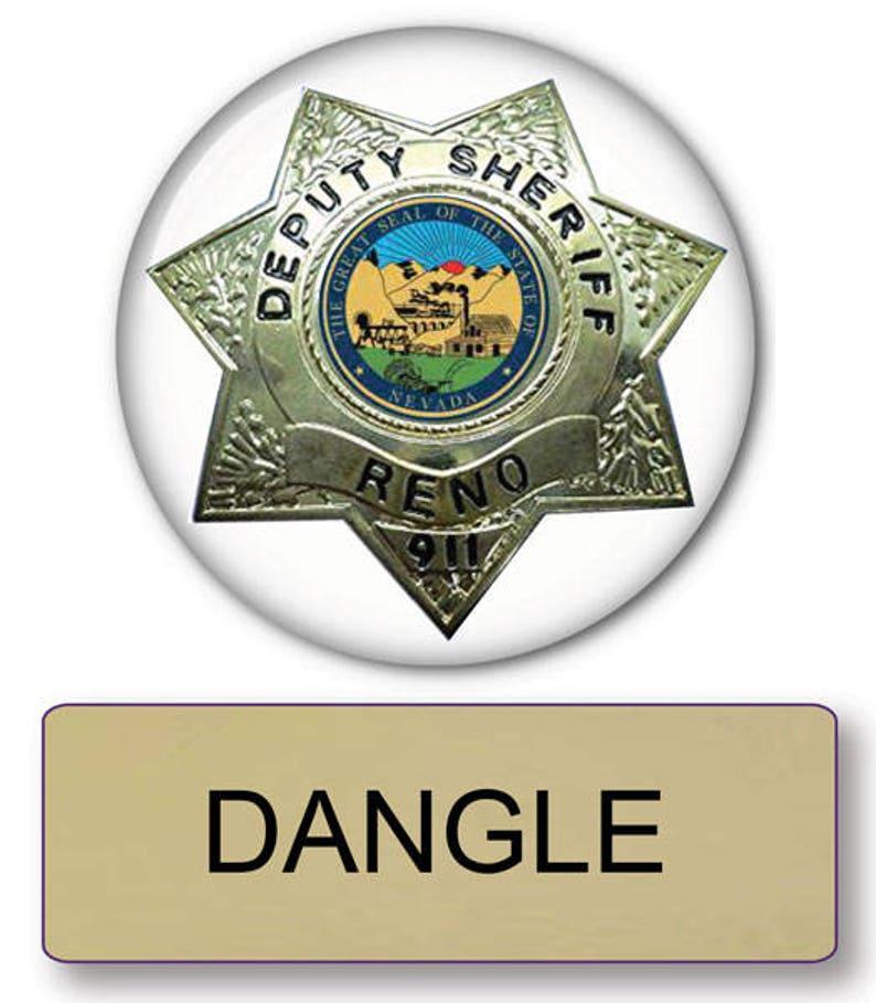 d338bee206d RENO 911 Officer DANGLE magnetic Fastener Name Badge
