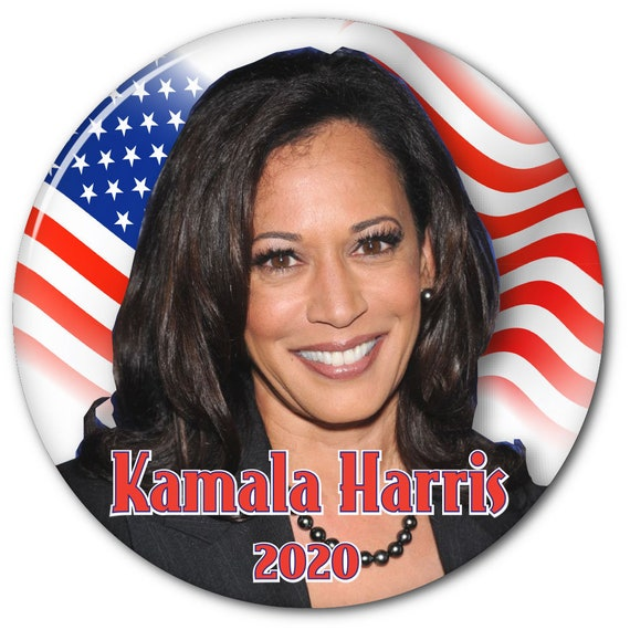 """KAMALA HARRIS B FOR PRESIDENT OF THE UNITED STATES 2020 3/""""  PIN BACK BUTTON"""