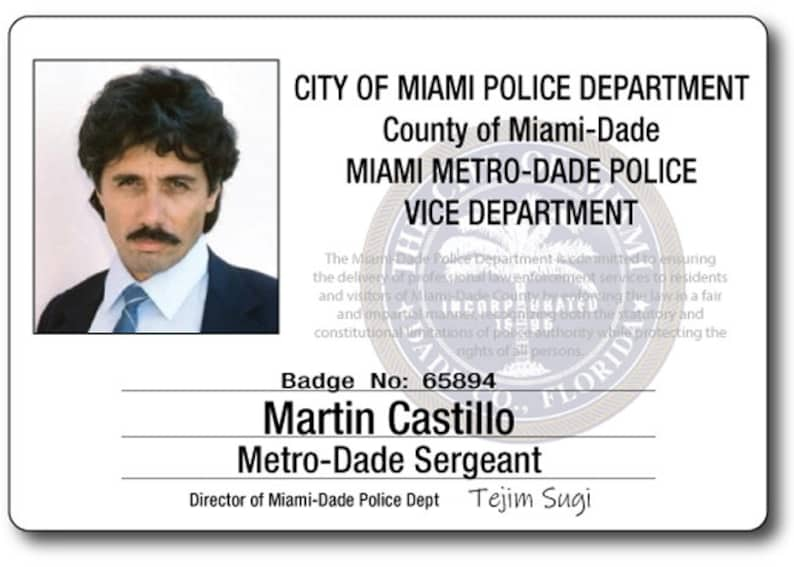 MARTIN CASTILLO MIAMI Vice Halloween Costume or Cosplay Name Badge Tag  magnet Fastener Ships Free