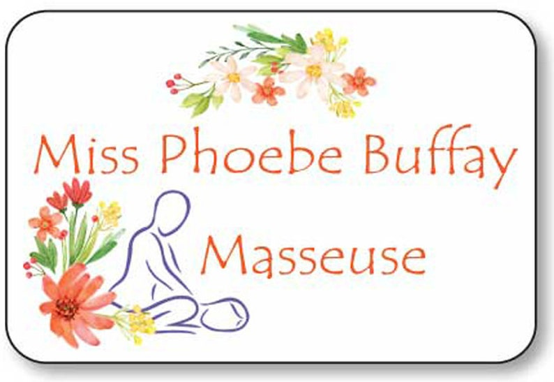 PHOEBE BUFFAY Masseuse from FRIENDS tv series magnet Fastener Name Badges Halloween Costume Prop Cosplay